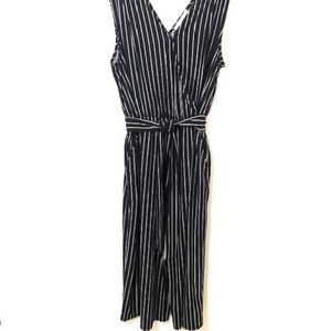 Time and Tru V-Neck Black & White Striped Jumpsuit